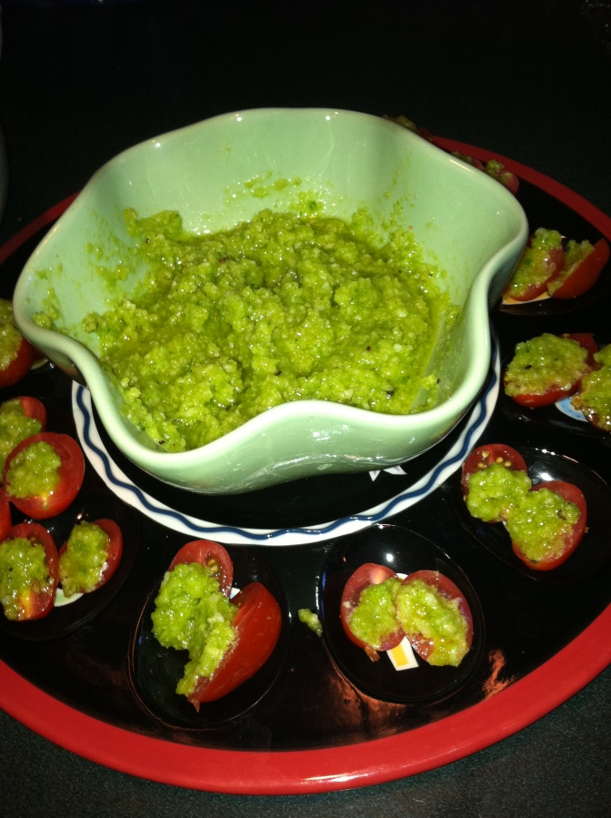 Scape pesto with tomatoes