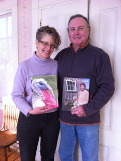 Laurie Hepworth and Michael Hart, publishers edible South Shore & South Coast, hold first and 22nd issues.