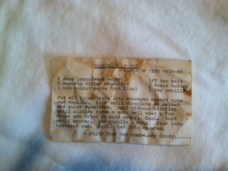 Fudge Recipe Card