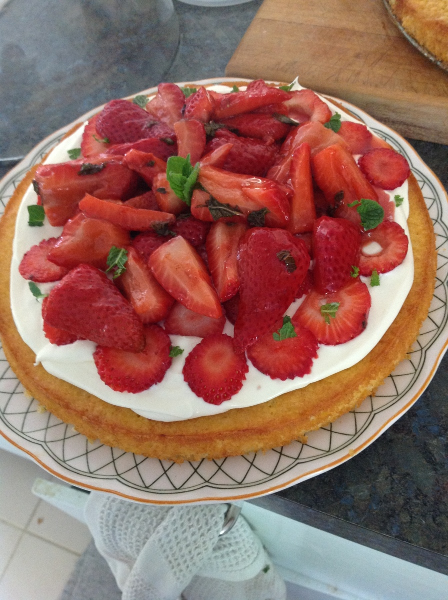 Limoncello and Balsamic Strawberry Sponge Cake via What Katie Ate