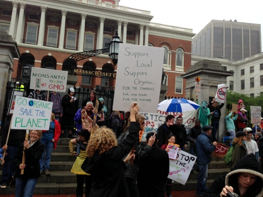 Participants in the March Against Monsanto at the Massachusetts State House in Boston.