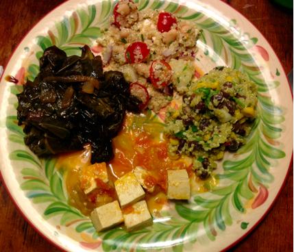 Molasses Braised Collard Greens, Greek Quinoa Salad, Tomatoes and Tofu, Mexican Quinoa Salad with creamy Avocado Dressing