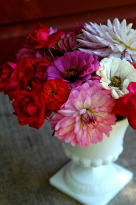 Backyard bouquet with Dahlias, Zinnias and Knockout Roses in a vintage vase