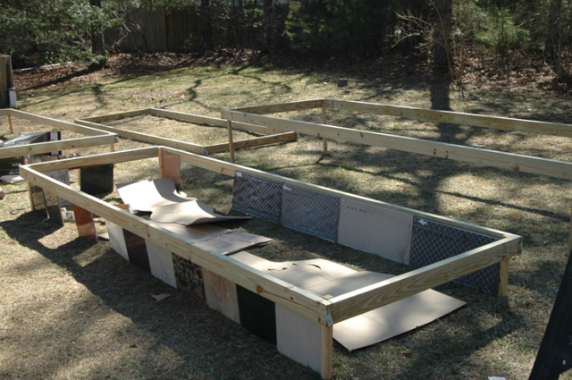 Raised beds mid-way to being finished