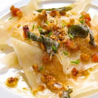 Butternut-Fennel Ravioli with Hazelnut-Sage Brown Butter Sauce